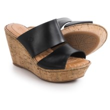 Born Adria Wedge Sandals - Leather (For Women) in Black Full Grain - Closeouts