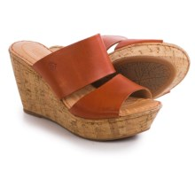 Born Adria Wedge Sandals - Leather (For Women) in Mandarine Full Grain - Closeouts