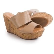 Born Adria Wedge Sandals - Leather (For Women) in Natural Full Grain - Closeouts