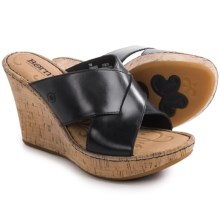 Born Adrianna Wedge Sandals - Leather (For Women) in Black Full Grain - Closeouts