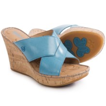 Born Adrianna Wedge Sandals - Leather (For Women) in Sea Blue Full Grain - Closeouts