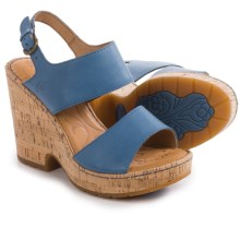 Born Annaleigh Wedge Sandals - Leather (For Women) in Blue Full Grain - Closeouts