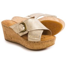 Born Curstyn Wedge Sandals - Leather (For Women) in Crema Metallic - Closeouts