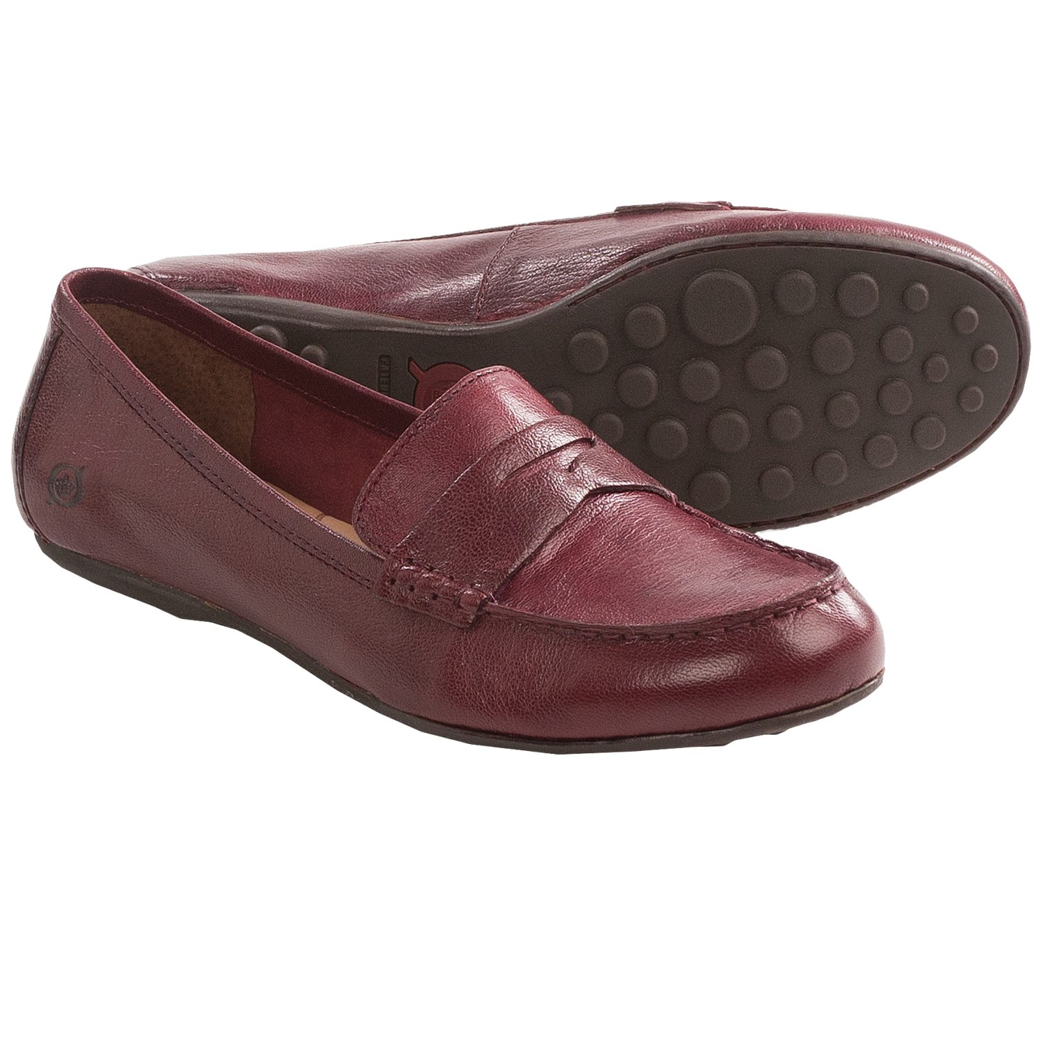 Born Dinah Penny Loafer Shoes - Leather (For Women) in Red