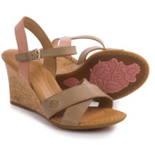 Born Hamada Wedge Sandals - Leather (For Women) in Sabbia/Rose Full Grain - Closeouts