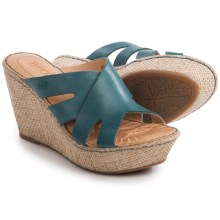 Born Ilara Wedge Sandals - Leather (For Women) in Denim Full Grain - Closeouts