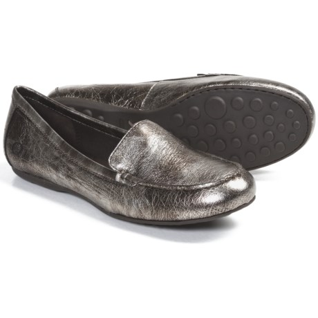 Born Joanie Shoes - Leather, Slip-Ons (For Women) in Dark Brown Metallic