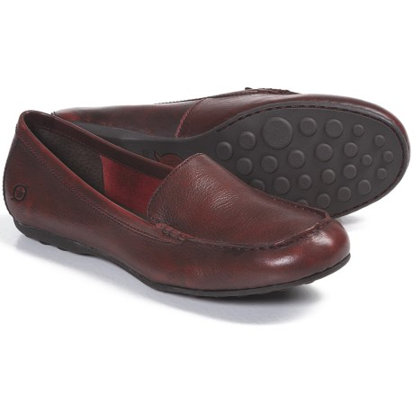 Born Joanie Shoes - Leather, Slip-Ons (For Women) in Red Burnished