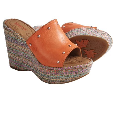 Born Kendri Wedge Sandals (For Women) in Orange Full Grain