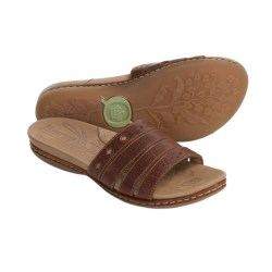 Born Laja Sandals - Leather Slides (For Women) in Cognac
