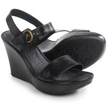Born Lenore Wedge Sandals - Leather (For Women) in Black Full Grain - Closeouts