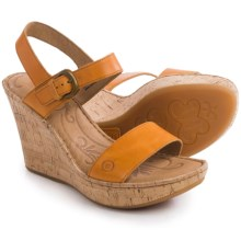 Born Lenore Wedge Sandals - Leather (For Women) in Mango Full Grain - Closeouts