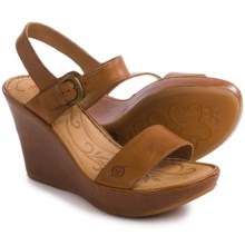 Born Lenore Wedge Sandals - Leather (For Women) in Nut Full Grain - Closeouts