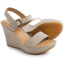 Born Lenore Wedge Sandals - Leather (For Women) in Porcellana Full Grain - Closeouts