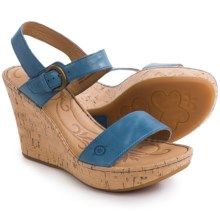 Born Lenore Wedge Sandals - Leather (For Women) in Sea Blue Full Grain - Closeouts