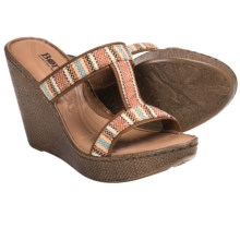 Born Lio Wedge Sandals (For Women) in Orange Fabric - Closeouts