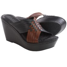 Born Millia Wedge Sandals - Leather (For Women) in Black/Whiskey Full Grain - Closeouts