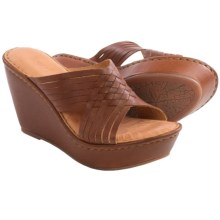 Born Millia Wedge Sandals - Leather (For Women) in Whiskey Full Grain - Closeouts