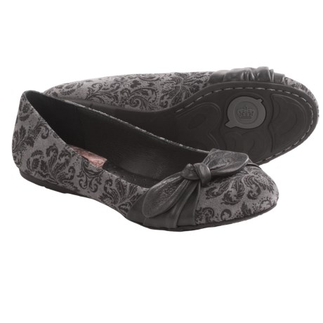 Born Molly Shoes - Leather, Slip-Ons (For Women) in Grey Printed Suede