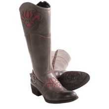 Born Montana Western Boots - Leather (For Women) in Charcoal/Red Full Grain - Closeouts