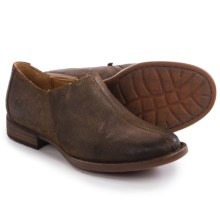 Born Silvie Shoes - Leather, Slip-Ons (For Women) in Brown Waxed Suede - Closeouts