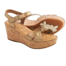 Born Skye Wedge Sandals - Leather (For Women) in Gold Metallic - Closeouts