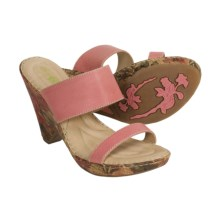 Born Skyler Sandals - Leather, Slides (For Women) in Pink/Floral Pattern - Closeouts