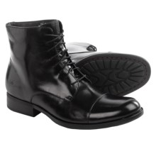 Born Tomas Leather Boots - Cap Toe (For Men) in Black Full Grain - Closeouts