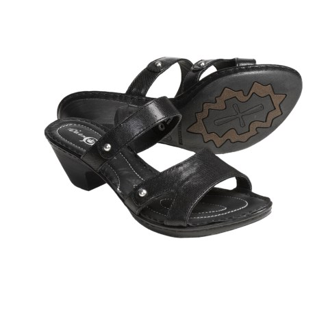 Born Via Leather Sandals (For Women) in Black Printed Vegetable