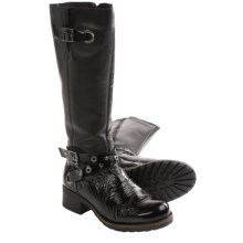 Bos. & Co. Boomer Biker Boots (For Women) in Black Crinkle Patent - Closeouts