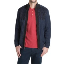 Boston Traders Cable Sweater Jacket - Fleece Lined (For Men) in Navy - Closeouts