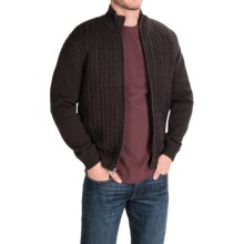 Boston Traders Full-Cable Sweater Jacket - Sherpa Lined (For Men) in Chocolate - Closeouts
