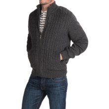 Boston Traders Full-Cable Sweater Jacket - Sherpa Lined (For Men) in Pewter - Closeouts
