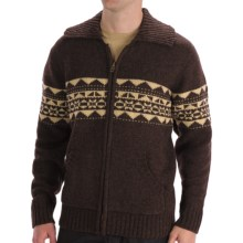 Boston Traders Patterned Wool Cardigan Sweater (For Men) in Brown - Closeouts