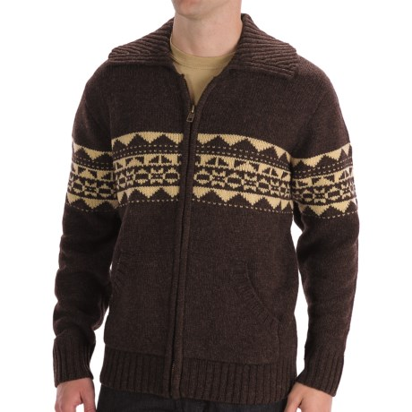 Boston Traders Patterned Wool Cardigan Sweater (For Men) in Brown