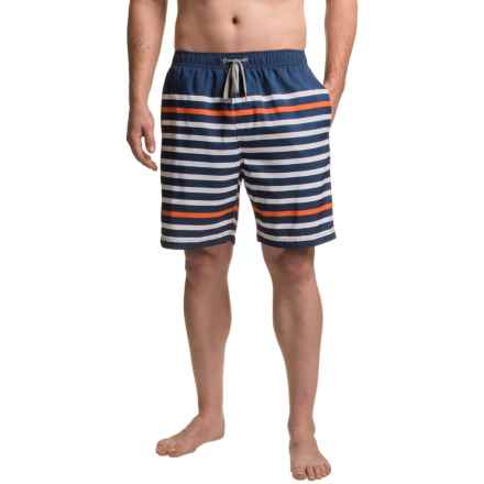 Boston Traders Printed Stripe Volley Swim Trunks - UPF 50+ (For Men) in Navy/Salmon - Closeouts
