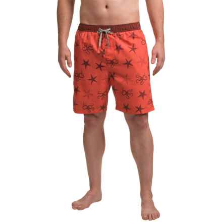 Boston Traders Starfish Print Volley Swim Trunks - UPF 50+ (For Men) in Salmon - Closeouts
