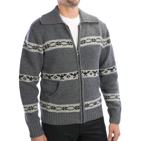 Boston Traders Zip Front Cardigan Sweater - Wool Blend (For Men) in Grey