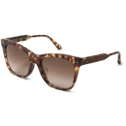 Bottega Veneta Rectangular Sunglasses (For Women) in Shiny Honey Havana - Closeouts