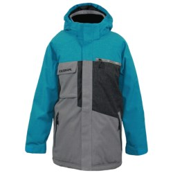 Boulder Gear Binary Jacket - Insulated (For Boys) in Red Blast/Army Green/Granite