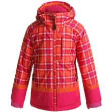 Boulder Gear Bliss Ski Jacket - Insulated (For Girls) in Mango Plaid/Pink Shock/Mango - Closeouts