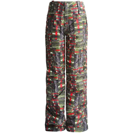 Boulder Gear Bolt Cargo Ski Pants - Insulated (For Boys) in Army Green Plaid/Black