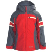 Boulder Gear Hugger Jacket - Insulated (For Girls) in Grey Shadow/Lipstick Red/Cream - Closeouts