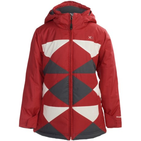 Boulder Gear Peacework Jacket - Insulated (For Girls) in Lipstick Red/Cream/Grey Shadow