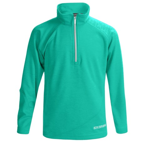 Boulder Gear Ruby Pullover Shirt - Zip Neck, Microfleece, Long Sleeve (For Girls) in Green Heather