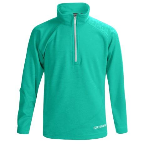 Boulder Gear Ruby Pullover Shirt - Zip Neck, Microfleece, Long Sleeve (For Girls) in Green Heather