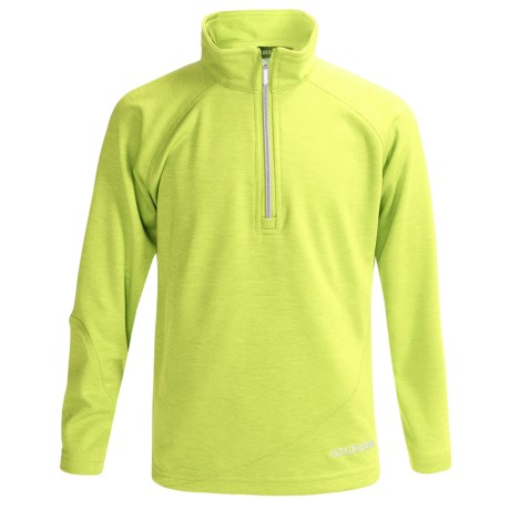 Boulder Gear Ruby Pullover Shirt - Zip Neck, Microfleece, Long Sleeve (For Girls) in Lime Heather