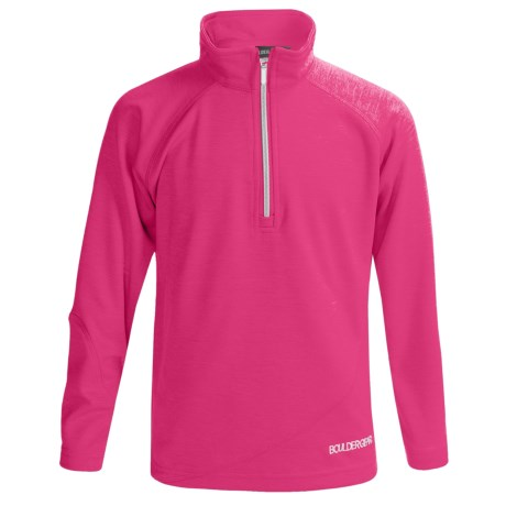 Boulder Gear Ruby Pullover Shirt - Zip Neck, Microfleece, Long Sleeve (For Girls) in Pink Heather