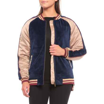 Boundless North Velour Varsity Bomber Jacket - Insulated (For Women) in Navy - Closeouts