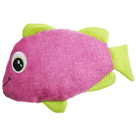 Bow-Wow Pet Gone Fishin' Crinkle Dog Toy - Built-In Squeaker in Pink/Green - Closeouts